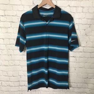 Nike Golf Polo dri-Fit blue stripe shirt small